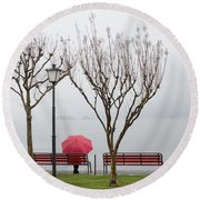 Woman Sitting On A Bench Round Beach Towel