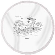 Woman Speaks To Man In A Pool With The Lochness Round Beach Towel by Michael Maslin