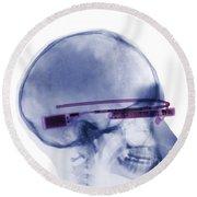 Woman Wearing Google Glass X-ray Round Beach Towel