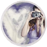 Woman With Camera. Love In A Still Frame Capture Round Beach Towel