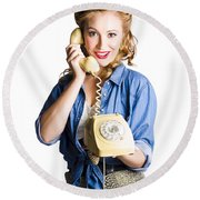 Woman With Retro Telephone Round Beach Towel