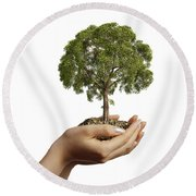 Womans Hands Holding Soil With A Tree Round Beach Towel