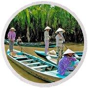 Women Waiting For Passengers On Mekong River Canal-vietnam Round Beach Towel