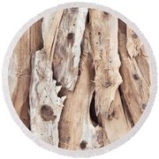 Wood Abstract Round Beach Towel