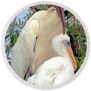 Wood Stork Mycteria Americana Round Beach Towel