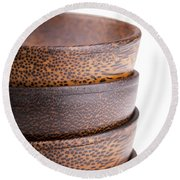 Wooden Bowls Isolated Round Beach Towel