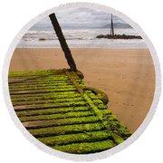 Wooden Slipway Rhos On Sea Round Beach Towel