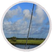 Wrightsville Beach Tidal Marsh Round Beach Towel