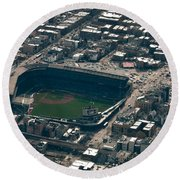 Wrigley Field From The Air Round Beach Towel