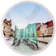 Wroclaw Poland The Market Square With The Famous Fountain Round Beach Towel