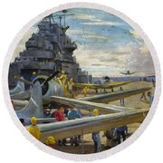 Wwii: Aircraft Carrier Round Beach Towel