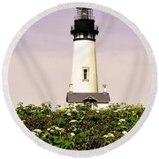 Yaquina Lighthouse In May Round Beach Towel