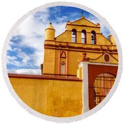 Yellow Colonial Church Round Beach Towel