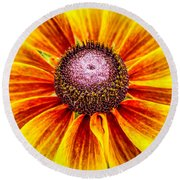 Yellow Daisy Round Beach Towel