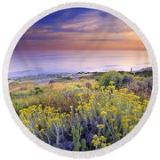 Yellow Flowers At The Sea Round Beach Towel