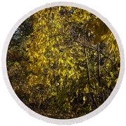 Yellow Leaves Round Beach Towel