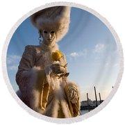 Venetian Carnival. Yellow Rose Charmer By Zina Zinchik Round Beach Towel