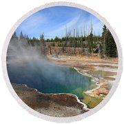 Yellowstone Park - Geyser Round Beach Towel
