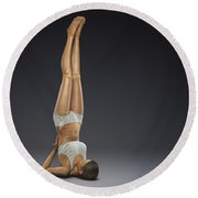 Yoga Shoulderstand Pose Round Beach Towel