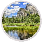 Yosemite Merced River Rafting Round Beach Towel