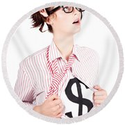 Young Businesswoman Super Hero Showing Dollar Sign Round Beach Towel
