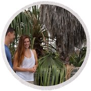 Young Couple Palm Tree Round Beach Towel