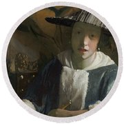 Young Girl With A Flute Round Beach Towel