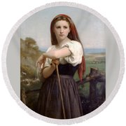 Young Shepherdess Round Beach Towel