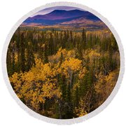 Yukon Gold - Fall In Yukon Territory Canada Round Beach Towel