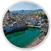 Zurich From The Grossmunster Round Beach Towel