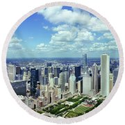 Aerial View Of A City, Chicago, Cook Round Beach Towel
