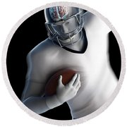 American Football Player Round Beach Towel