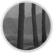 Blue Ridge Mountains - Virginia Bw 8 Round Beach Towel