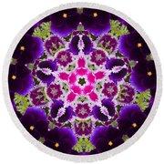 Flower Kaleidoscope Resembling A Mandala Round Beach Towel