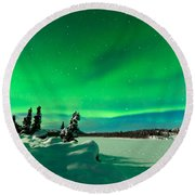 Intense Display Of Northern Lights Aurora Borealis Round Beach Towel