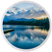 Lake Santeetlah In Great Smoky Mountains North Carolina Round Beach Towel