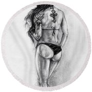 Model Round Beach Towel