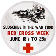 Red Cross Poster, C1917 Round Beach Towel