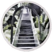 Staircase Leading To A Higher Level In Siloso Hotel In Sentosa Round Beach Towel