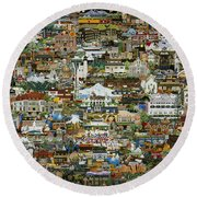 100 Painting Collage Round Beach Towel