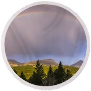 100801a-14 Two Medicine Rainbow Round Beach Towel