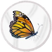 103 Perched Monarch Butterfly Round Beach Towel