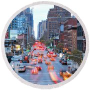 10th Avenue Rush Hour Round Beach Towel