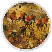 Ascent To Calvary, By Pieter Bruegel Round Beach Towel
