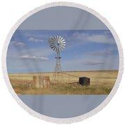 Australia - Windmill In The Wheat Field Round Beach Towel