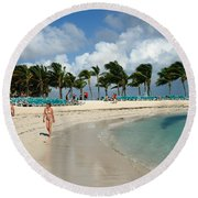 Beach At Coco Cay Round Beach Towel