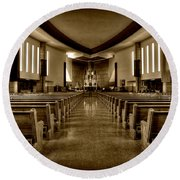 Church Of Saint Columba Round Beach Towel