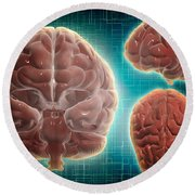 Conceptual Image Of Human Brain Round Beach Towel
