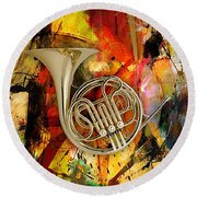 French Horn Round Beach Towel