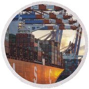 Hamburg Harbor Container Terminal Round Beach Towel